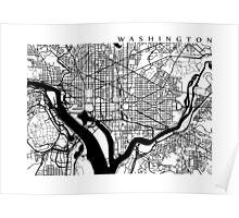 Washington DC Black and White Map Art Poster