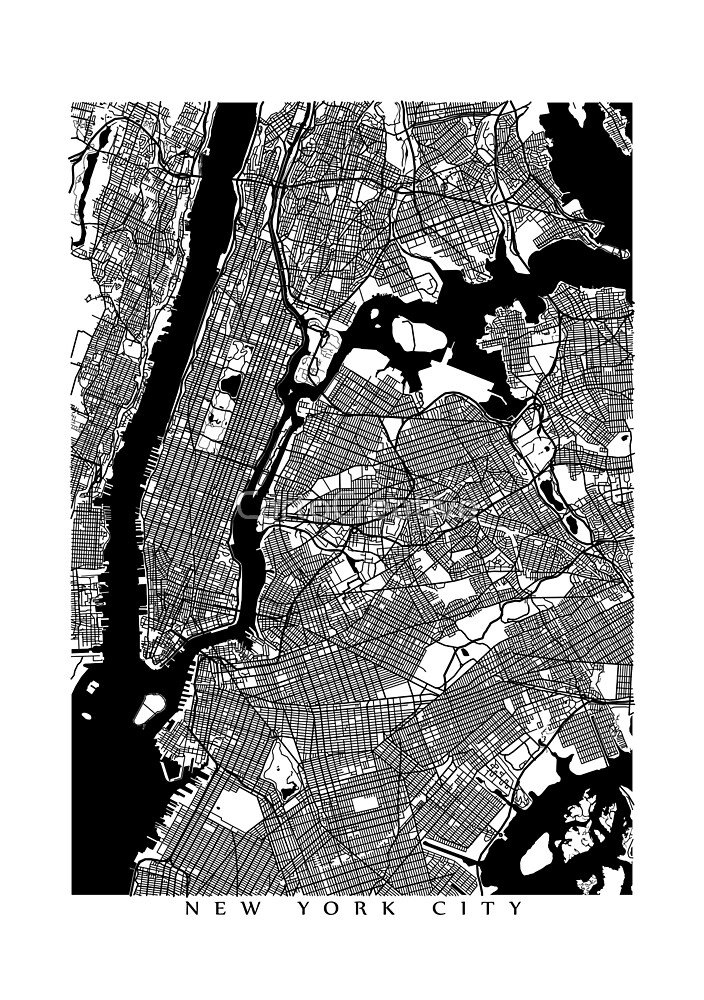 New York City Black and White Map - NYC by CartoCreative