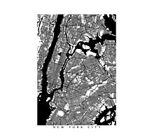 New York City Black and White Map - NYC Photographic Print