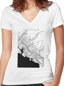 Honolulu Black and White Map Women's Fitted V-Neck T-Shirt