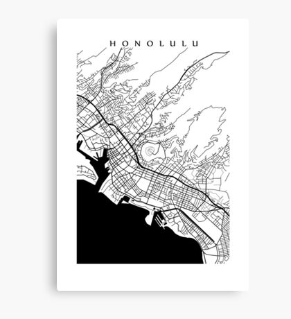 Honolulu Black and White Map Canvas Print