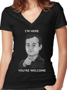 Bill Murray - I'm Here You're Welcome White Writing Women's Fitted V-Neck T-Shirt