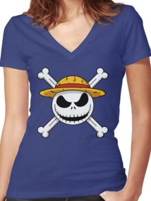 The Nightmare Before Piracy Women's Fitted V-Neck T-Shirt