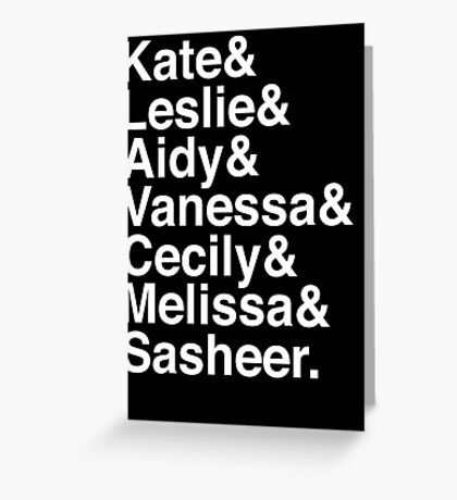 SNL Girl Gang in White Helvetica: 2010s Greeting Card
