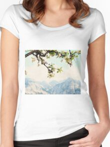 Apple Blossoms and Mountains  Women's Fitted Scoop T-Shirt