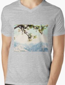 Apple Blossoms and Mountains  Mens V-Neck T-Shirt