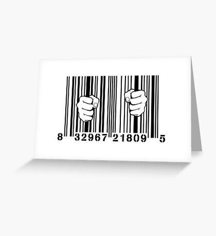 Captured By Consumerism UPC Barcode Prison Greeting Card