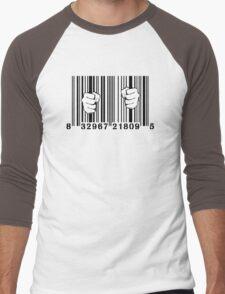 Captured By Consumerism UPC Barcode Prison Men's Baseball ¾ T-Shirt