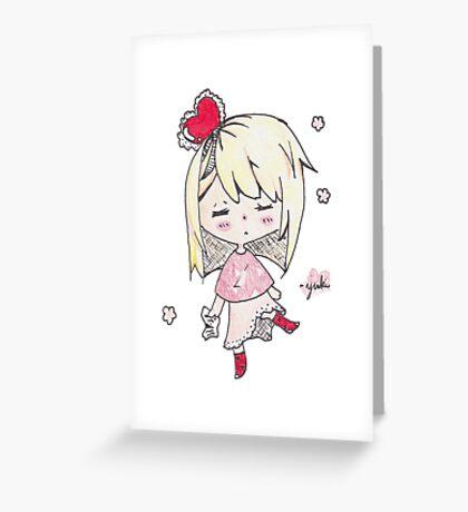 Love sick chibi girl Greeting Card