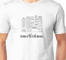 Amsterdam in Black and White Unisex T-Shirt