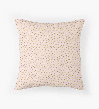 Peach Gold Confetti Dots Throw Pillow