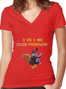 1v1 Me Club Penguin Women's Fitted V-Neck T-Shirt