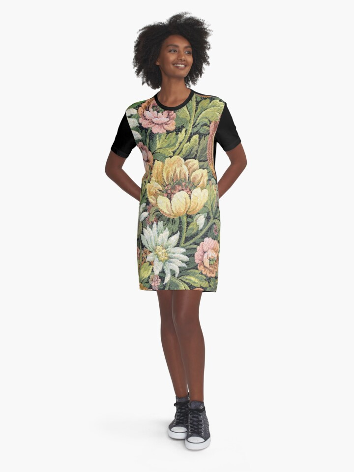 'Grandma's Couch Vintage Floral' Graphic T-Shirt Dress by yonni