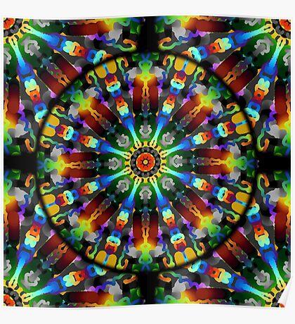 Tie-Dye Fireworks Mandala Poster