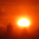 Hazy Winter Sunset over New York City by Alberto  DeJesus