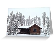 Snowed in winter cabin Greeting Card