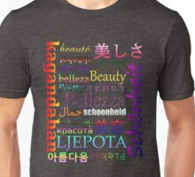"""Typography """"Beauty"""" in 19 Languages Unisex T-Shirt"""