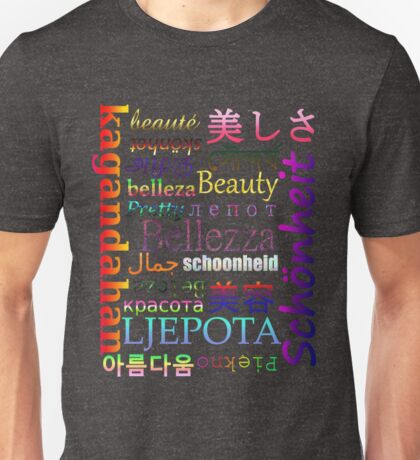 "Typography ""Beauty"" in 19 Languages Unisex T-Shirt"
