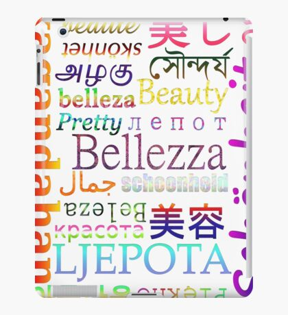 """Typography """"Beauty"""" in 19 Languages iPad Case/Skin"""