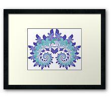 Frangipani Fractal Crown - Blue Framed Print