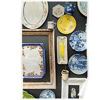 vintage plates on wall Poster