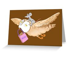 Owl and mouse in search of books Greeting Card