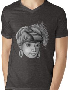 Gray-Scale Ethnic Woman  Mens V-Neck T-Shirt