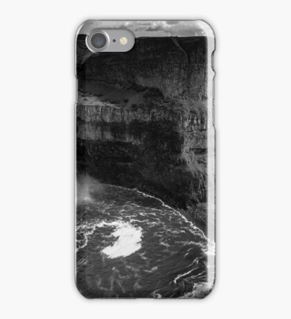 Palouse Falls with Clouds - Black and White iPhone Case/Skin