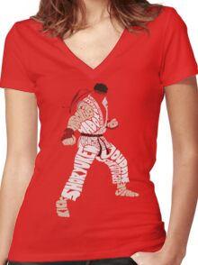 Ryu Typography Women's Fitted V-Neck T-Shirt