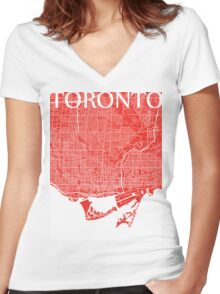 Toronto (Red) Women's Fitted V-Neck T-Shirt