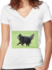 2015 Groenendael fetching dumbell Women's Fitted V-Neck T-Shirt