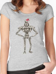 Christmas Cylon in a Santa Hat Women's Fitted Scoop T-Shirt