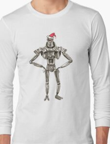 Christmas Cylon in a Santa Hat Long Sleeve T-Shirt
