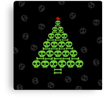 Green Skull and Bones Christmas Tree  Canvas Print