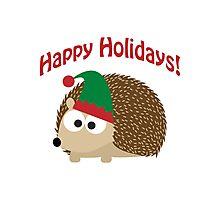Happy Holidays! Hedgehog elf Photographic Print