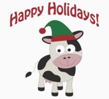 Happy Holidays! Cow Elf Kids Tee