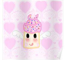 Kawaii Rainbow Unicorn Cupcake Poster