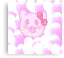 Kawaii pig with a bow  Canvas Print