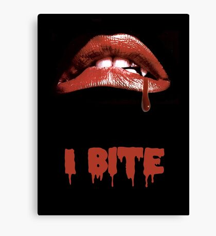 "Rocky Horror Style ""I Bite"" Vampire Mouth Canvas Print"