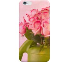 Pink Roses In Green Watering Can iPhone Case/Skin