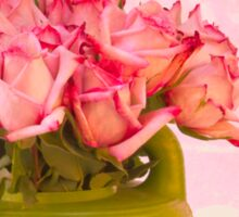 Pink Roses In Green Watering Can Sticker