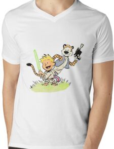 Calvin and Hobbes Star Wars Mens V-Neck T-Shirt