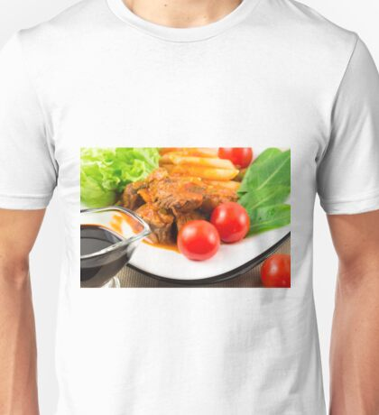 View close-up on a meal of beef stew with pasta penne nad herbs Unisex T-Shirt