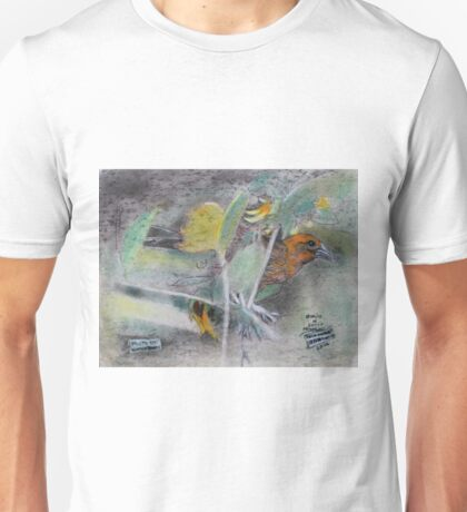 """Eye on the Sparrow""On a back side of a 4 ply mat board Unisex T-Shirt"