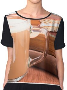 Glass mug with hot chocolate and biscuits in a wooden tray Chiffon Top