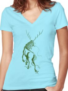 Elemental Earth Qilin Women's Fitted V-Neck T-Shirt