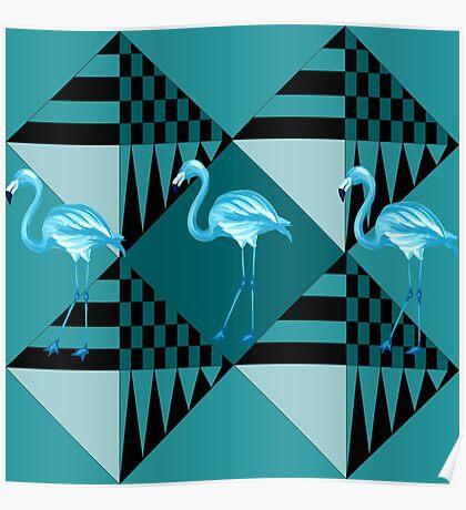blue flamingo  Poster