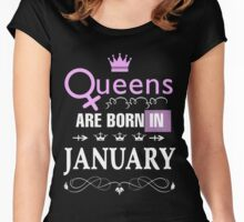 Queens Are Born In January Shirt Women's Fitted Scoop T-Shirt
