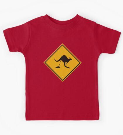 Road sign - warning kangaroo shit Kids Tee