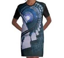 Spiral metal stairs in blue Graphic T-Shirt Dress